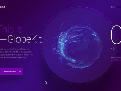 GlobeKit marketing site progress interactive development website web design site concept creative direction art direction interface ux rally interactive design ui
