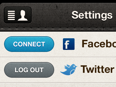 (Retina) Updated share settings button ui app ux stitching facebook twitter texture mobile rally interactive interface