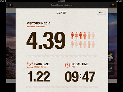 Stats on the iPad typography ux ui ios helvetica mobile app ipad texture rally interactive interface