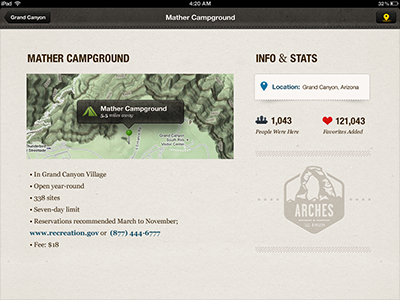Camping lodging detail screen