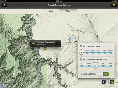 Map View on iPad rally interactive mobile ui app interface ux design