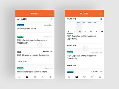 FS Investments event calendar interaction circa 2016 ios creative direction art direction app mobile interface rally interactive ux design ui