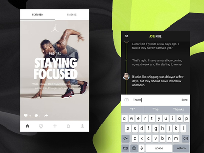 Nike+ Chat [dark concept] touch interactive e-commerce rally ios development concept creative direction art direction app mobile interface ux rally interactive design ui