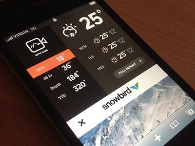 Snowfall Widget (mobile website) climacons rally interactive ui design site mobile website ux interface web design