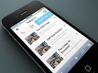 Lodging List on Snowbird Mobile site