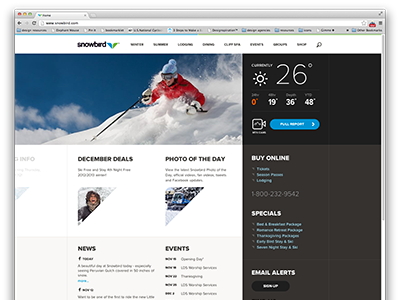 Snowbird.com is Live! climacons rally interactive web design design interface ux ui