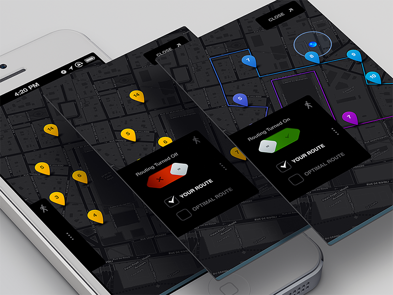 Your Route rally interactive mobile app design ui ux interface