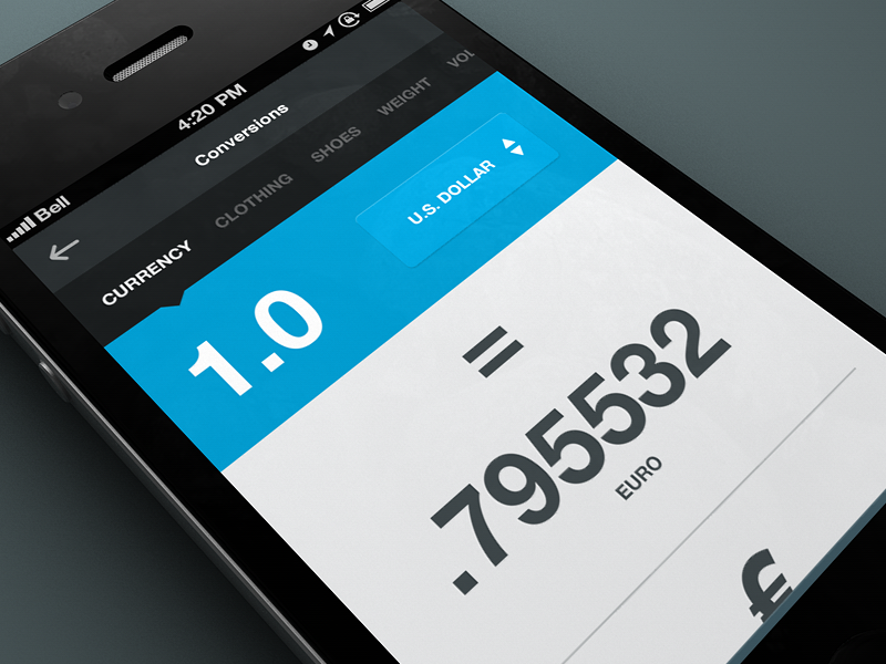 Conversion / Currency rally interactive mobile app ui ux design interface