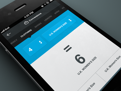 Clothing Conversions ui ux design mobile app interface