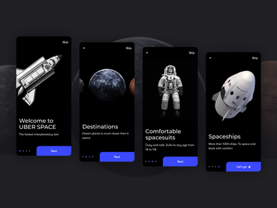 UBER Space Onboarding | Сoncept onboarding concept appservice minimalism minimal spacesuit spaceship technology figmadesign figma spaceman space web design ui design mobile ui mobile app design ui