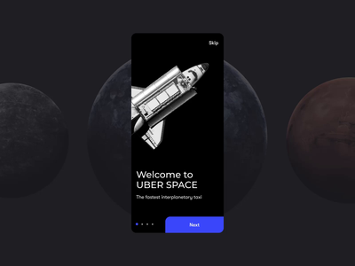 UBER Space Onboarding | Animated Сoncept mobile app design spaceship onboarding technology motion mobile ui mobile app web design ui design space glitch minimal appservice animated gif concept ui animation