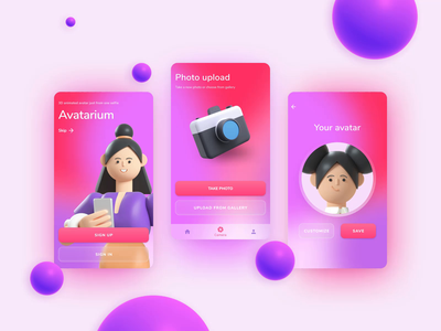 AVATARIUM 3D Avatars Maker Android APP   Сoncept gradient welcome screen onboarding 3d animation photo illustration mobile ui app android avatar 3d technology mobile app concept softvoya ui design animated gif figma design ui
