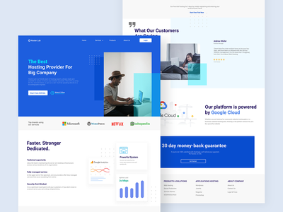 Hoster Lab - Hosting Landing Page Design web design company web design cloud computing hosting company landing page ui landing page blue minimal data center server hosting