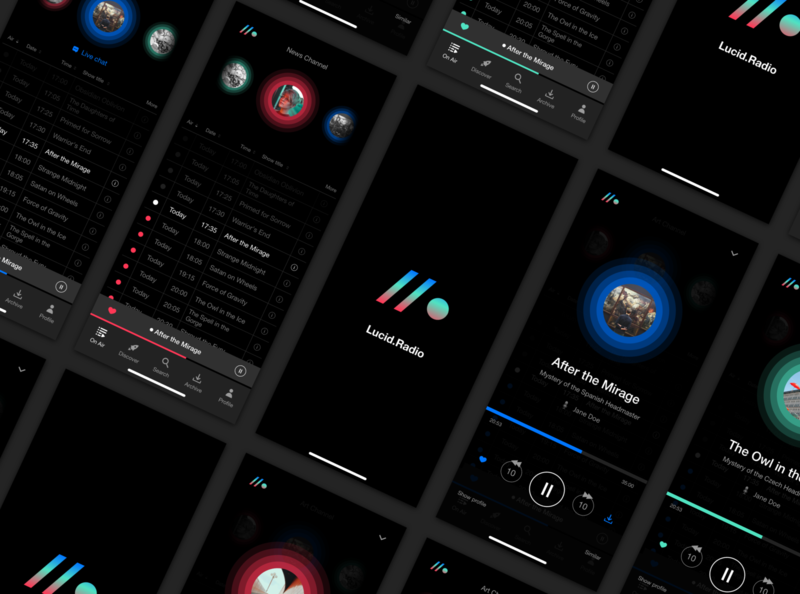 Radio/Podcast App UI Kit channels branding freebie free kit podcasting dark mode dark music player music app design app ux uiux ui podcast radio