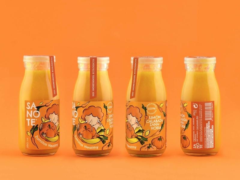 Sanote Healthy Juice - Orange packaging spain illustration ilustración diseño gráfico graphic design diseño labelling design drink label drink juice zumo etiqueta label bottle botella