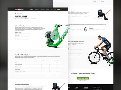 Webpage Design - VirtualPower webpage ui bike trainerroad cycling branding website web