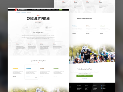 Webpage Design - Build, Base & Specialty Phase website webpage web ui trainerroad bike cycling branding brand