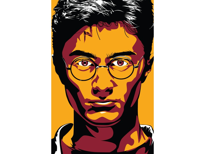 Harry Potter portrait harry potter comic con illustration minimal flat adobe illustrator