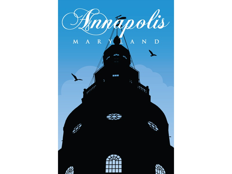 Annapolis Capitol Building poster flatdesign flat ilustration flat detail illustration government building capitol building maryland annapolis
