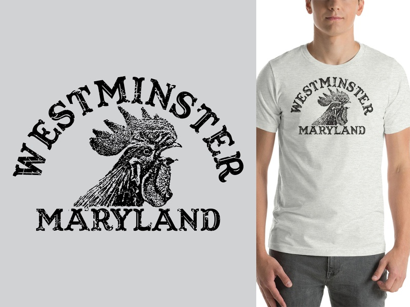 Westminster Rooster Distressed Shirt Design apparel design tshirt design tshirtdesign distressed maryland westminster