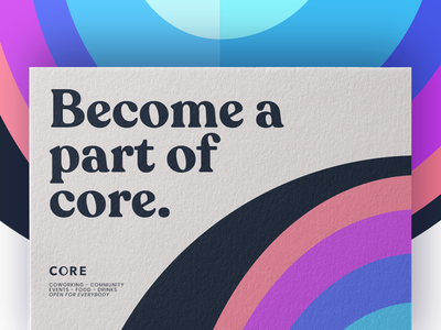 CORE - become a part of core mockup print colorful corporate identity corporate design coworking space coworking community logo design branding brand experience