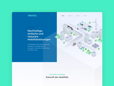Waydo vision website details ux ui emobility mobility electric vehicles map data visualization isometric marketing content creation concept text responsive design illustration brand experience branding animation webdesign
