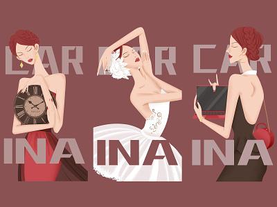 Fashion magazine cover design illustration