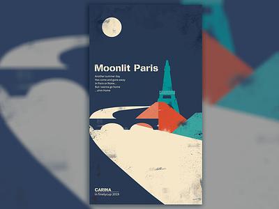 Moonlit Paris illustration paris