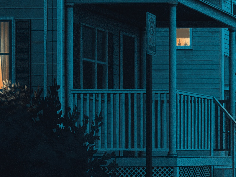 Leave your light on moegly window light window shadows screen print poster suburban night illustration grunge grain blue