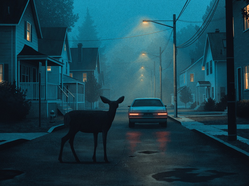 A Momentary Silence moegly illustration grainy street lights neighborhood tail lights nostalgic moody deer night screenprint poster