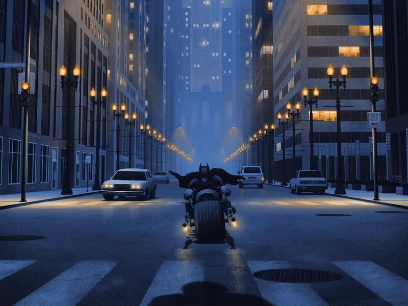 The Dark Knight screen print the dark knight batman movie poster poster moegly illustration grunge grain gotham city blue