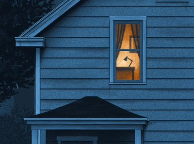 Night Shifts moegly blue night nighttime grunge screen print illustration