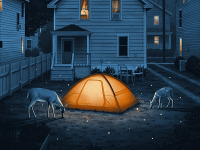 Dave Matthews Band Drive In Poster screenprint moody nostalgic house shadows tent night nighttime deer moegly poster illustration