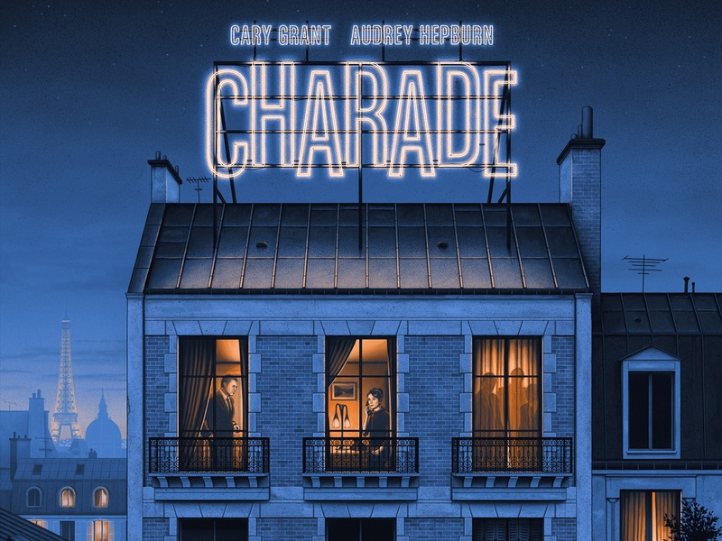 Charade rooftops neon france grainy moody moegly cary grant paris charade screen print poster movie poster