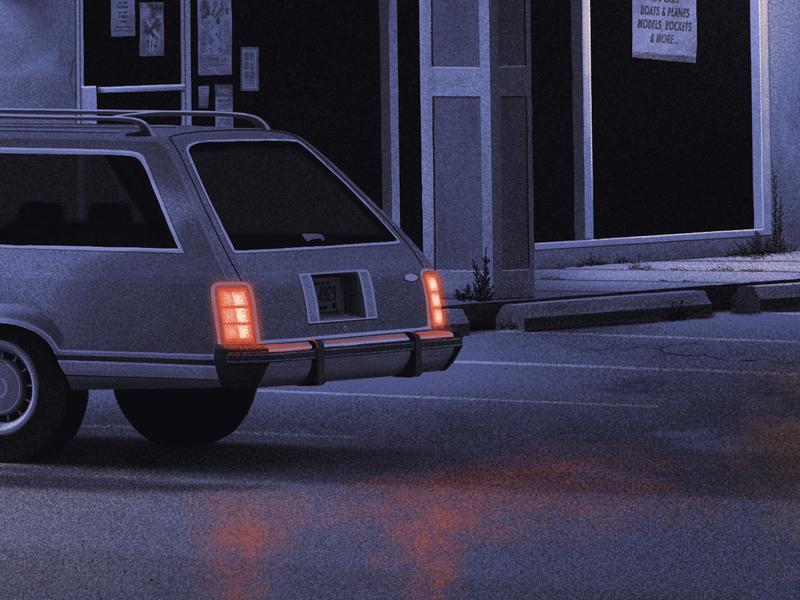 Keep it Running tail lights moegly car illustration art night illustration grunge texture grunge