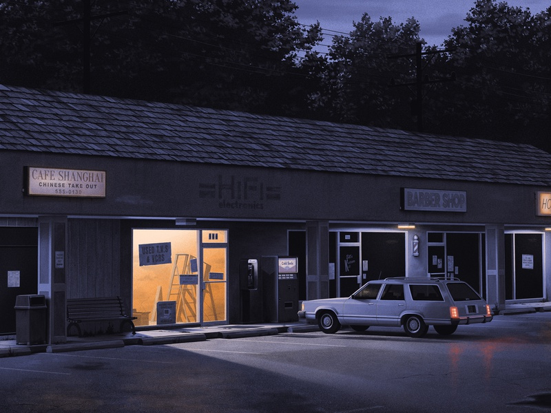 An Unexpected Stop abandoned poster nostalgic moody grainy shadow nighttime strip mall moegly illustration