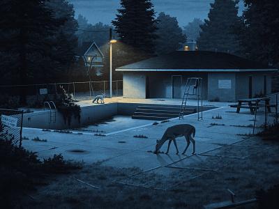 An Ocean Between park pool street lights fox nostalgic night neighborhood moody moegly illustration grainy deer