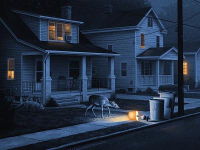 A Shiny Object giclee nostalgic nicholas moegly poster fox deer nighttime house neighborhood moody night illustration