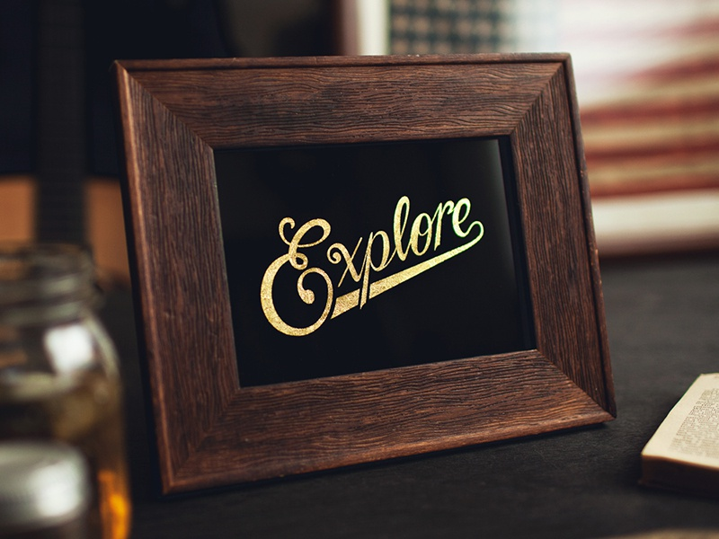 Explore Reverse Gilded & Screen Printed Glass explore hand lettering lettering typography screen print gold leaf gilded gilding glass