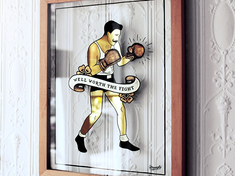 Well Worth the Fight Gilded Piece sign painting glass sign drawing tattoo flash flash gold leaf gilded gold boxer illustration