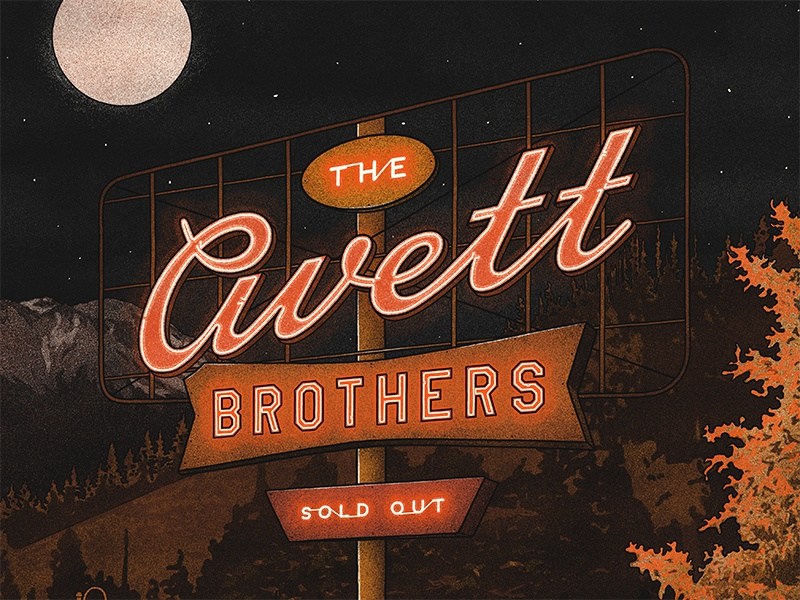 The Avett Brothers - Mobile, AL Poster fox neon sign nicholas moegly avett band screen print concert show poster gig poster poster avett brothers