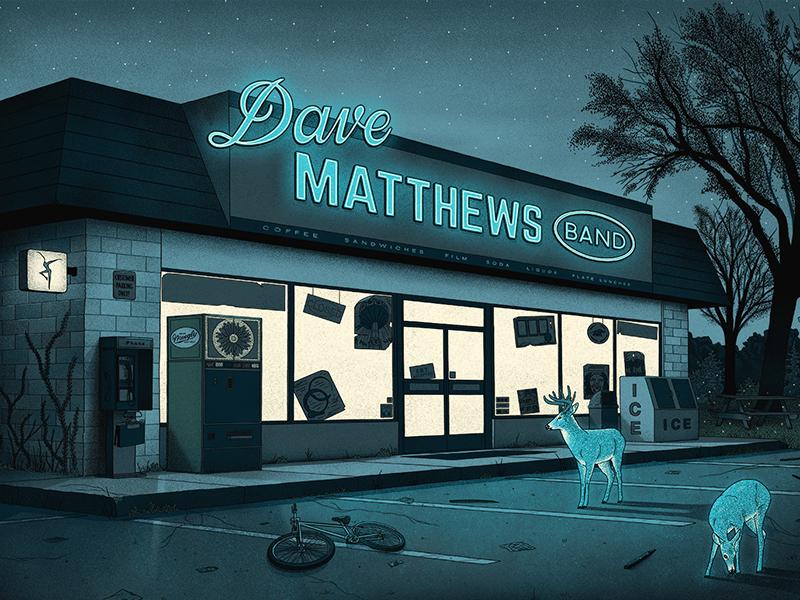 Dave Matthews Band Poster parking lot dmb gig poster concert poster screen print nighttime deer dave matthews band poster