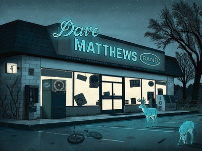 Dave Matthews Band Poster parking lot dmb gig poster concert poster screen print nighttime deer dave matthews band poster