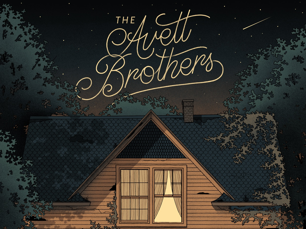 The Avett Brothers Bethlehem Poster ivy trees house nighttime script screen print the avett brothers gig poster poster