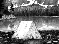 Tent by the Lake Notebook Cover