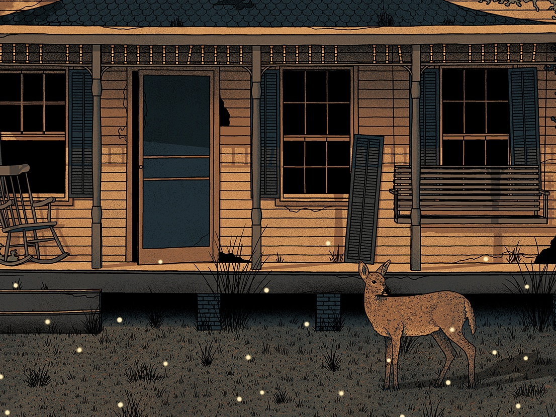 Midsummer Night Porch gig poster screen print abandoned summer cozy avett brothers poster illustration house porch deer nighttime night
