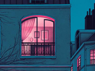 Window Detail moegly nicholas moegly grunge illustration band dave matthews band paris curtains building night window screen print poster