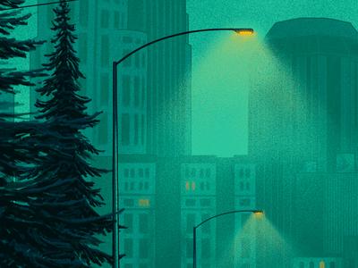 Night Lights green street light nashville light post tree night