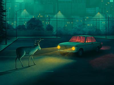 A Sudden Rustle animal moegly shadows bmw parking lot night nighttime poster screen print illustration nashville headlights car deer