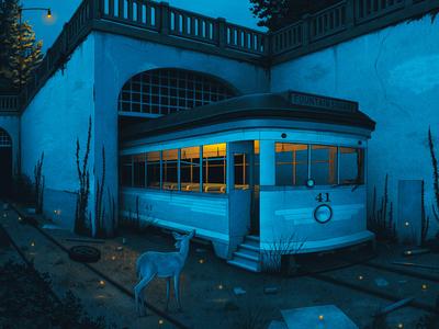 Dave Matthews Band Poster fireflies night abandoned street car deer cincinnati dave matthews band music band poster gig poster